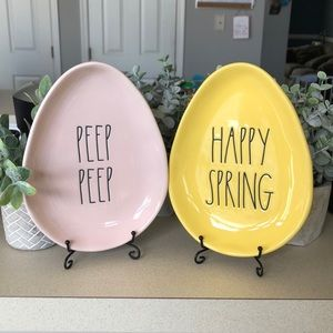 rae dunn peep peep and happy spring egg plates